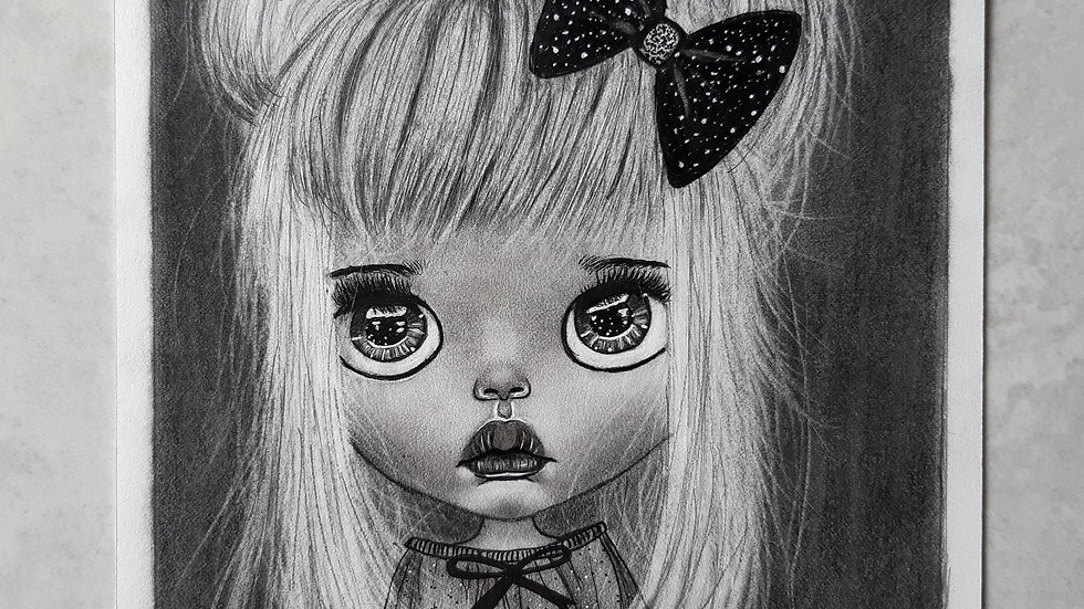 Cute Doll Graphite Drawing