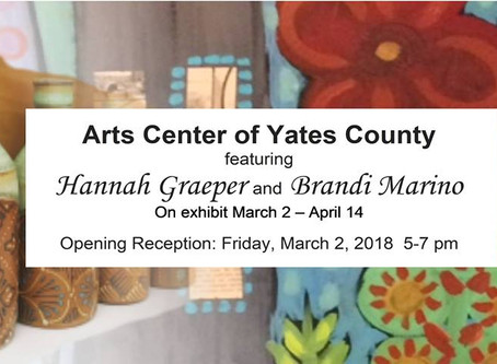 Arts Center of Yates County Exhibit, March 2 - April 14, 2018