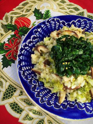Risoto de shitake com brócolis