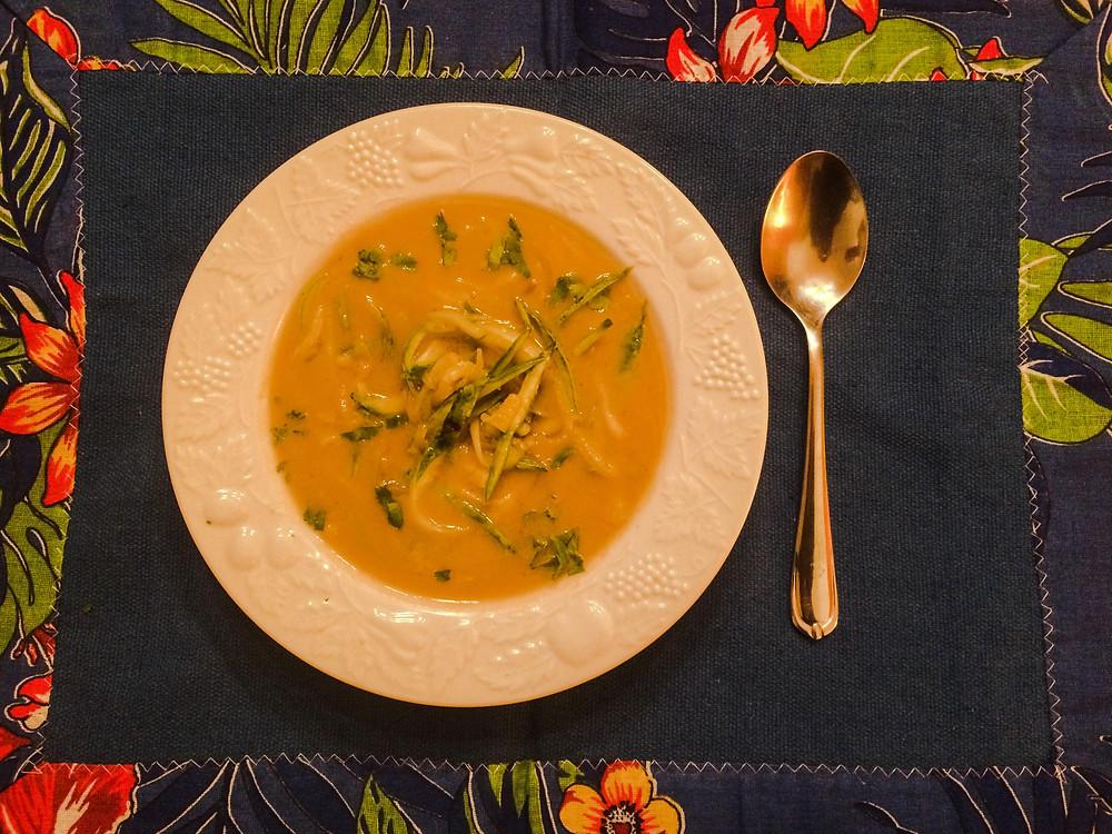 Sopa batata doce inhame abobrinha