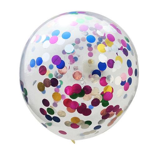 Bexiga com confete metálico colorido - 5 unidades