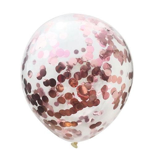 Bexiga com confete metálico rosa ouro - 5 unidades