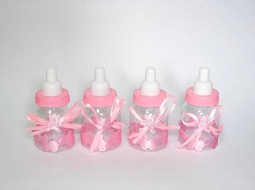 Mini mamadeiras de plástico rosa - 10 unidades