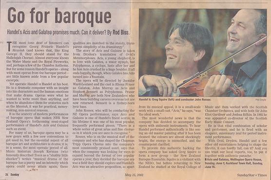 Violinist Gregory Squire Baroque Handel Acis Galatea