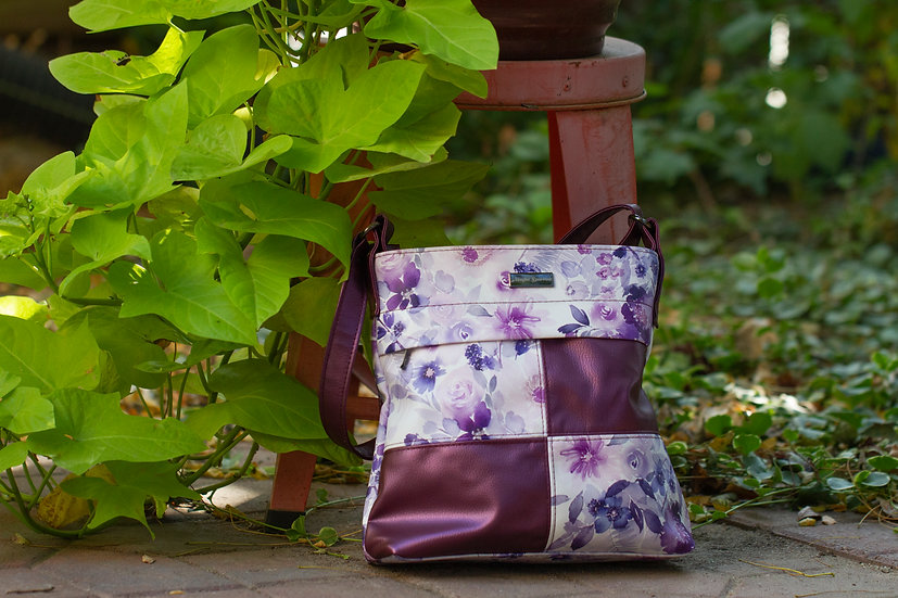 Purple and Floral Ciara Crossbody Bag