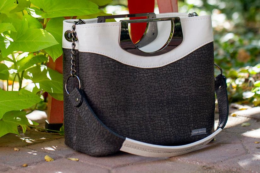 Pebbled Gray and White 5th Avenue Handbag
