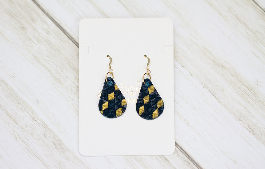 Dark Blue and Gold Accent Teardrop Hook Earrings