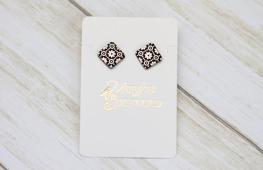 Black and Light Gold Mosaic Earrings