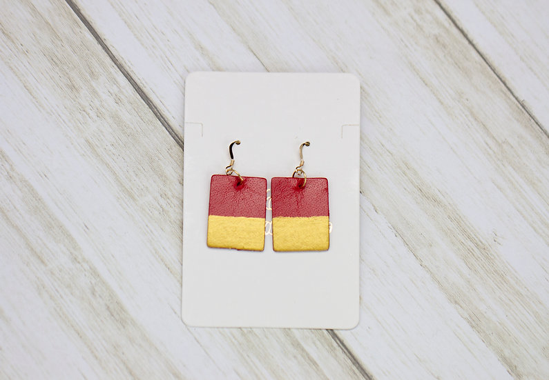 Gold Paint Dipped Red Leather Hook Earrings