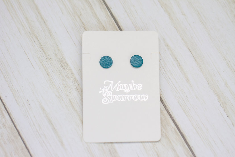 Turquoise Dot Leather Earrings