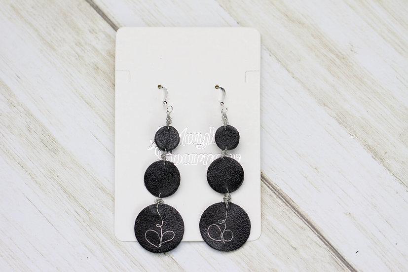 Black Tri-Circle Hook Earrings