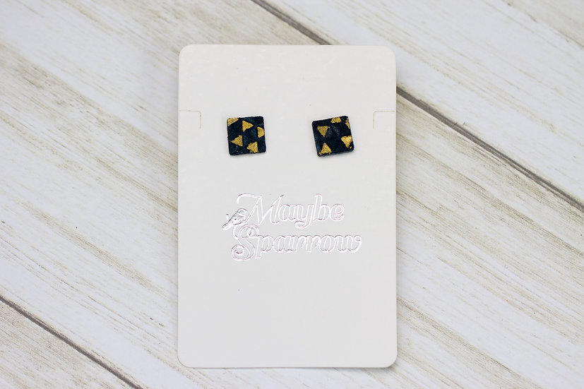 Dark Blue and Gold Accent Earrings