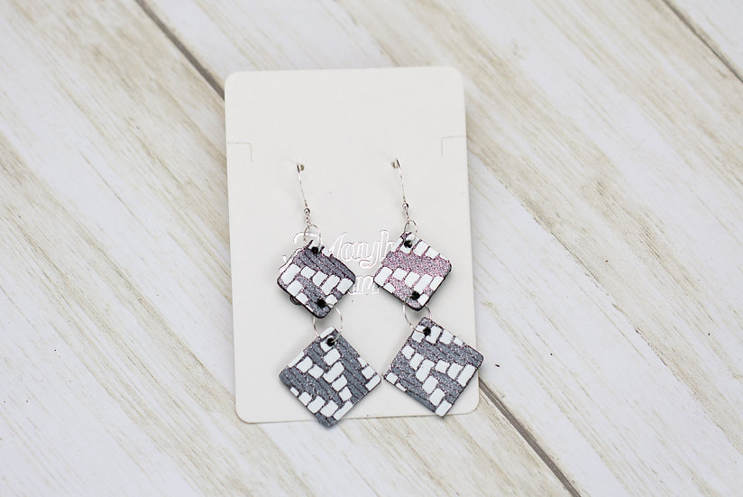 Silver and White Diamond Shaped Hook Earrings
