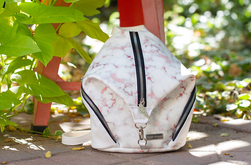 Rose Gold and White Marbled Mini Denver Backpack