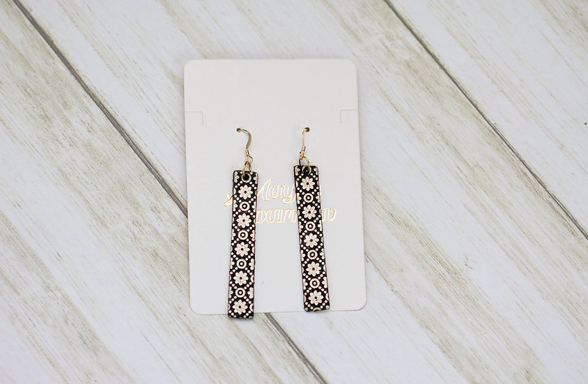 Gold and Black Mosaic Bar Earrings