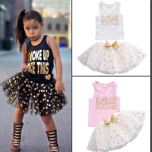Girl's Letter Print Top & Polka Dot Sequin Bow Skirt