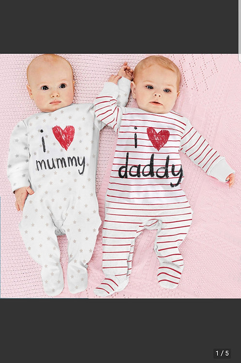 I Love Mum & Dad Sleepsuits/ Rompers