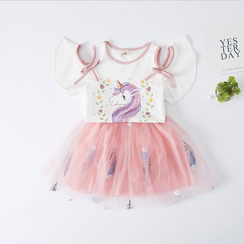 Unicorn Printed Top & Pink Mesh Skirt Set