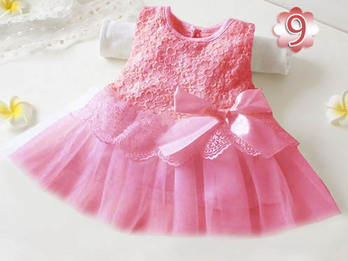 Princess Mesh Sleeveless Bow Baby Dress