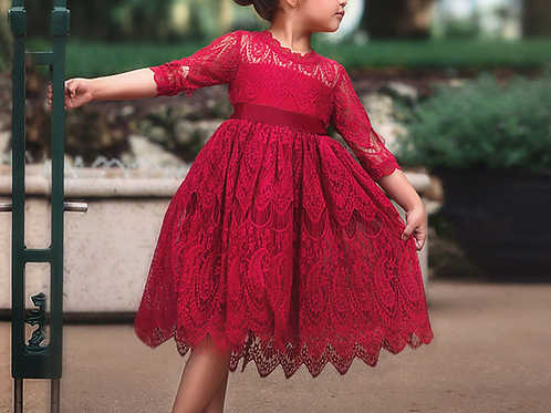 Girls Short Sleeve Lace Mesh Dress