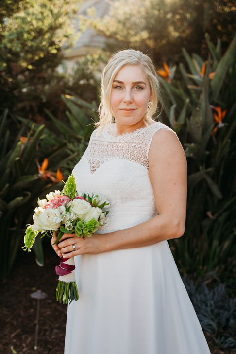 Bride with flowers posing