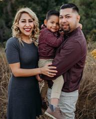 Happy family posing for the camera
