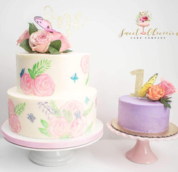 Floral First Birthday and Smash Cake