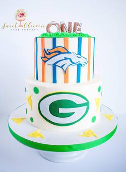 Football Theme First Birthday Cake