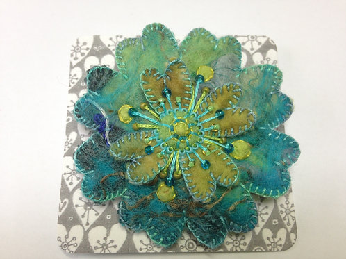 green & turquoise felt flower brooch