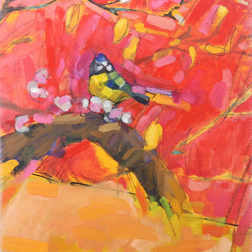 (SOLD) Bird on Red