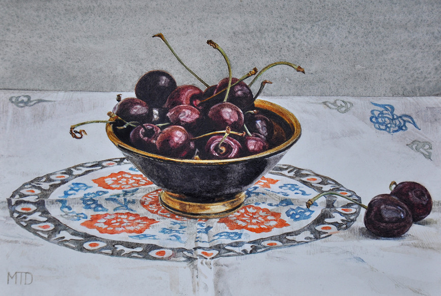 Cherries on a chinese cloth,  resized.jp
