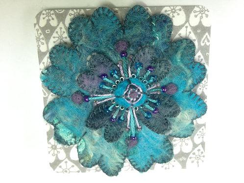 turquoise felt flower brooch