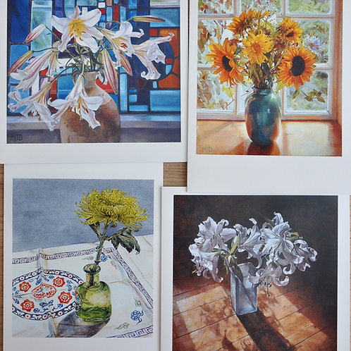 Pack of 4 cards, Flowers
