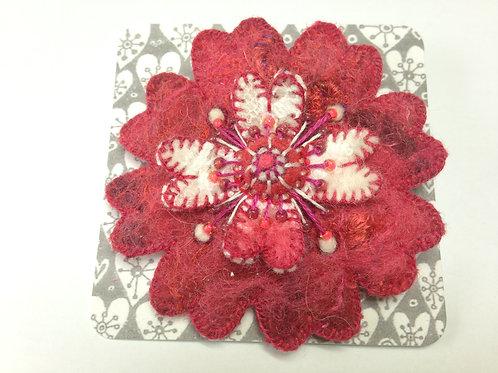 Red felt flower brooch