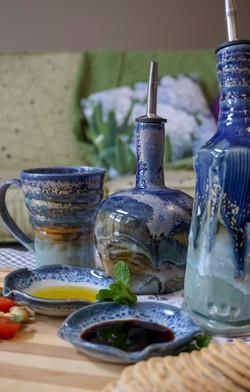 Mugs and bottles in Thunder glazes