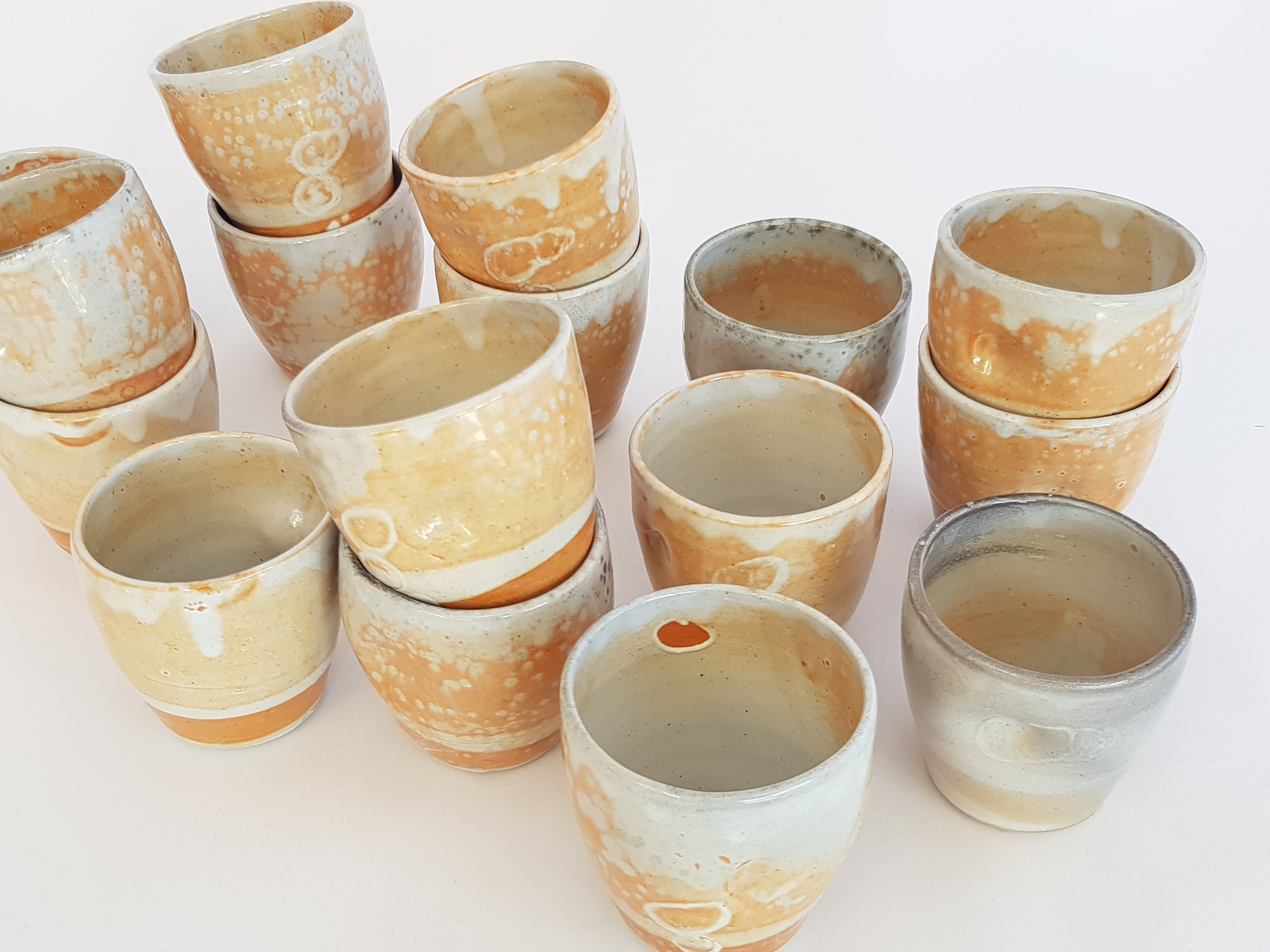 Coffee cups in Shino glaze