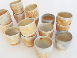 Coffee cups in Shino glaze