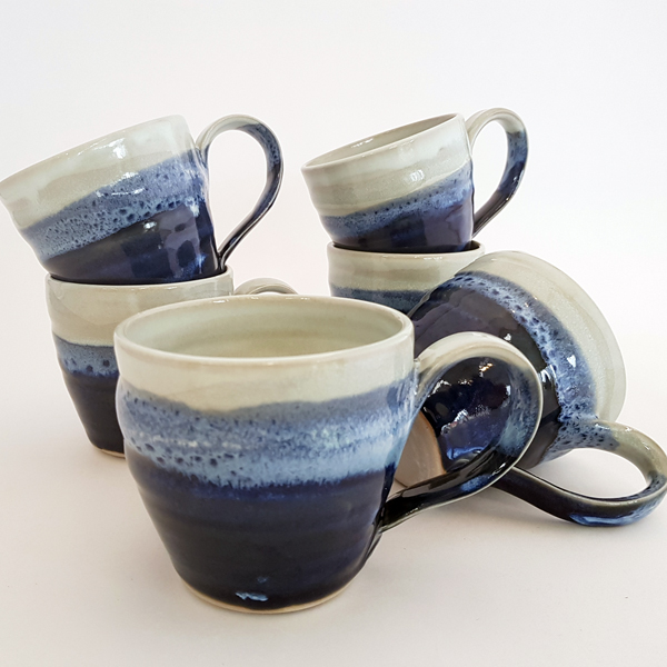 Coffee cups in Ocean glazes