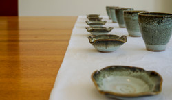 Small cups and dishes in Forest glaz