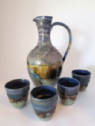 Aella (Storm Winds) large cerami stoneware jug and matching cups