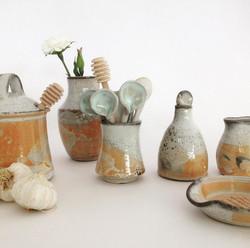 Various tableware items in 'shino'