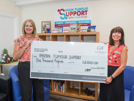 Cotswold Homes donates £1,000 to Brain Tumour Support