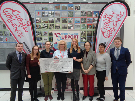 MBDA raises £4,127 for Brain Tumour Support