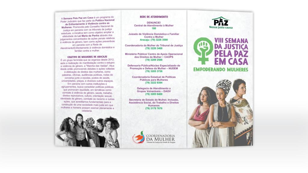 Folder para evento da Coordenadoria da Mulher do TJSE