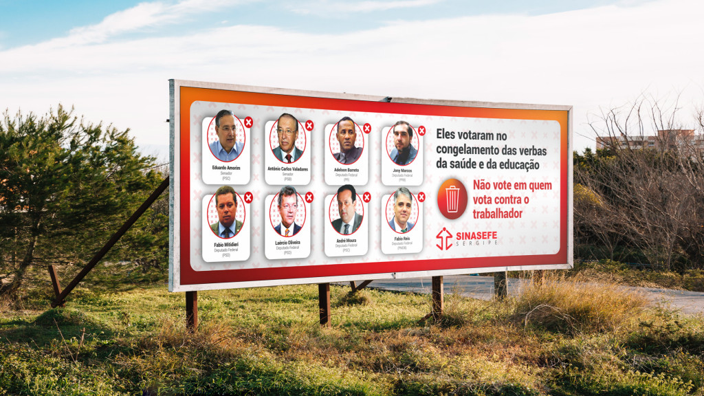 Outdoor para campanha promovida pelo Sinasefe (SE)