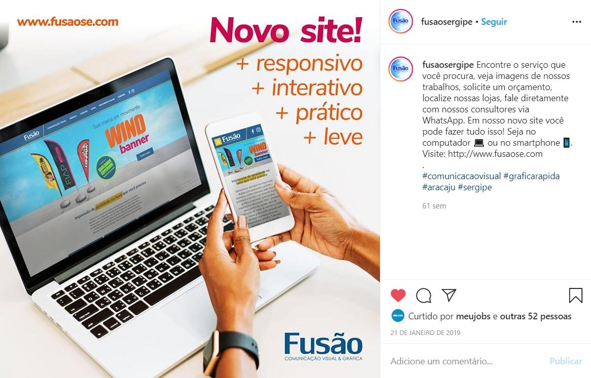 """Publicação """"novo site"""" (criação, produção gráfica e redação)"""