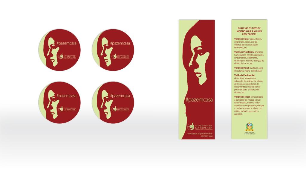 Praguinhas e marcador de livro para campanha da Coordenadoria da Mulher do TJSE