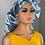 Thumbnail: HHM Extra Large bonnet with Edge Wrap- Blue Silver