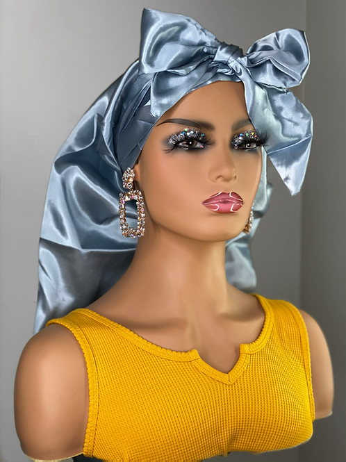 HHM Extra Large bonnet with Edge Wrap- Blue Silver