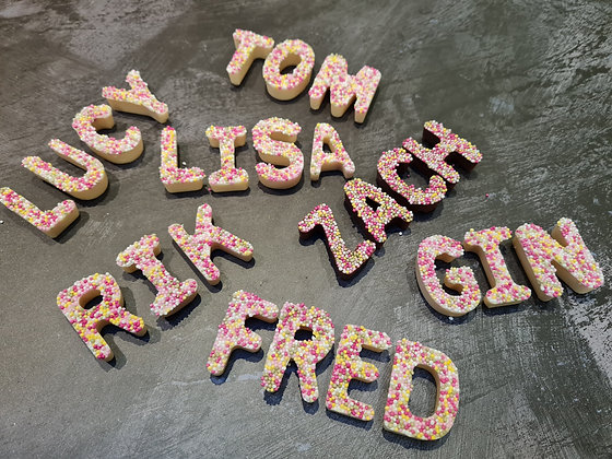 Personalised Names - Milk or White Chocolate with Sprinkles